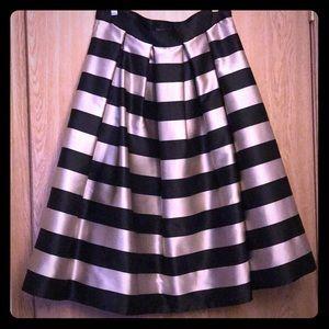 Striped taffeta midi skirt